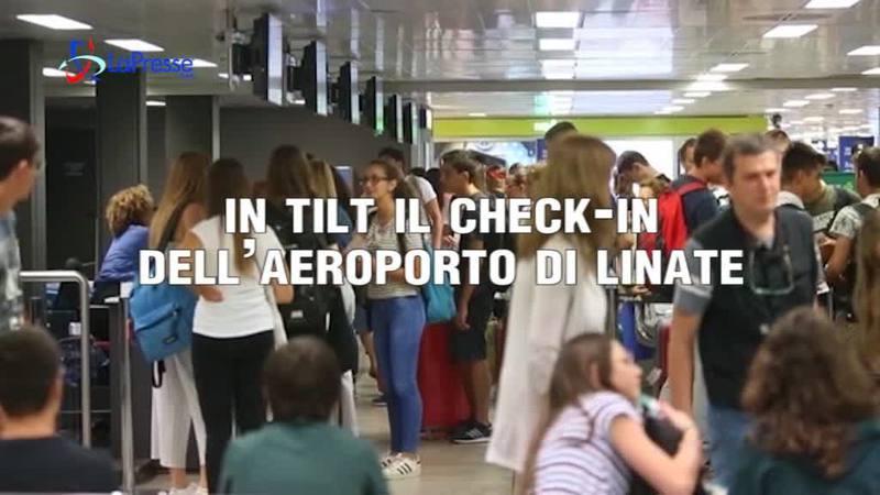 IN TILT IL CHECK-IN DELL'AEROPORTO DI LINATE