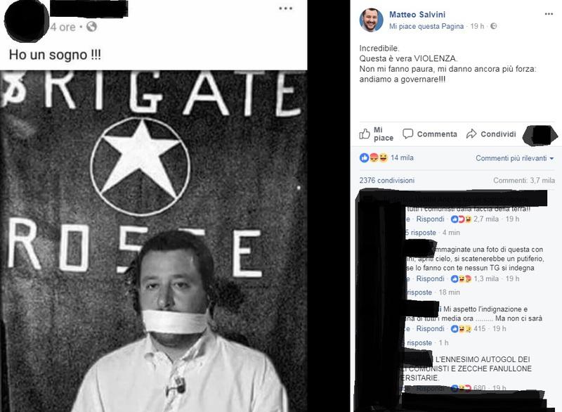 """SALVINI RITRATTO COME MORO, """"QUESTA E' VIOLENZA"""""""
