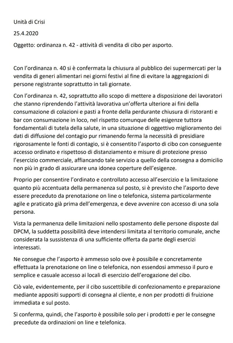 CHIARIMENTI ALL'ORDINANZA PER CIBO DA ASPORTO
